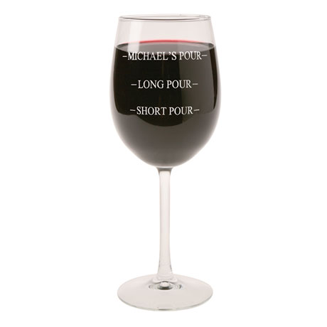 Personalized Pour Wine Glass - Stemmed