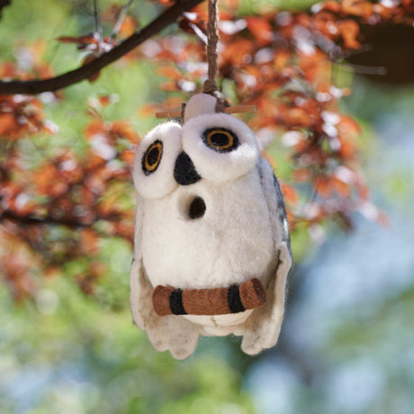 Felted Wool Owl Shaped Birdhouse
