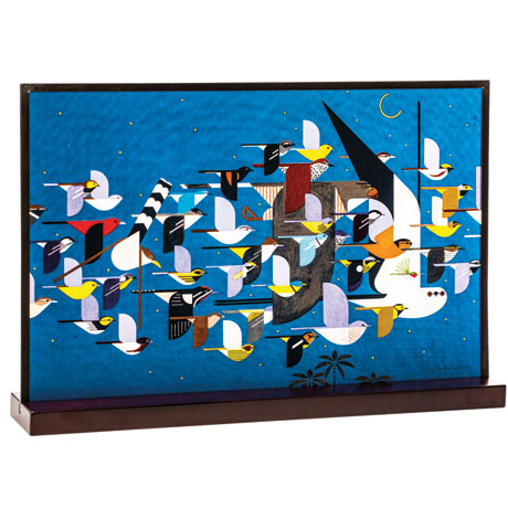 Charley Harper Migrants Art Glass Panel