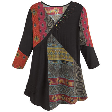 Red and Black Tapestry Patchwork Print Tunic Shirt