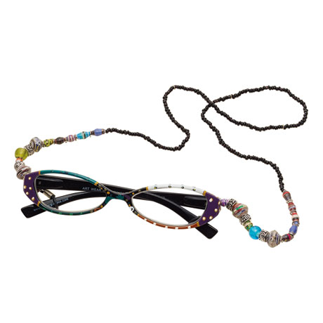 Arty Reading Glasses and Beaded Eyeglass Chain