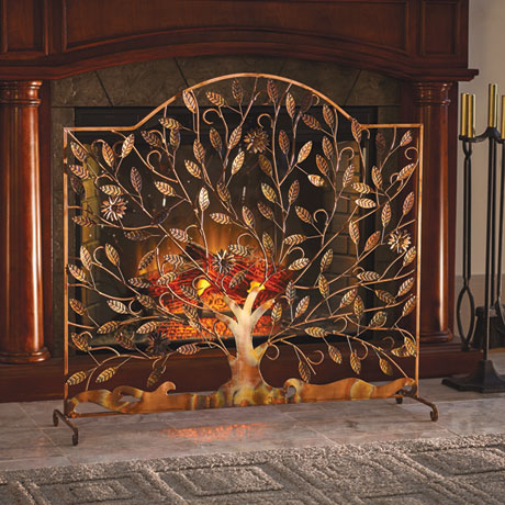 Flowering Tree Decorative Fireplace Screen