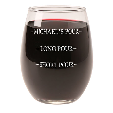 Personalized Pour Wine Glass - Stemless