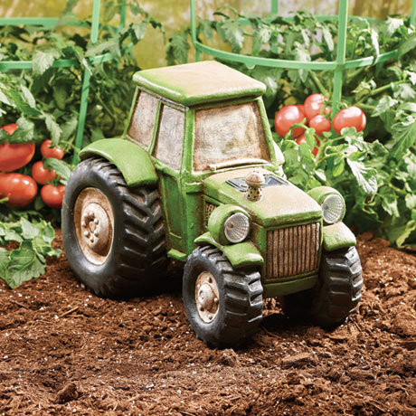 Tractor Garden Sculpture with Solar-Powered Headlights