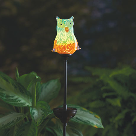 Solar Art Glass Garden Owl
