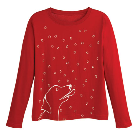 Marushka Dog Catching Snowflakes T-shirt