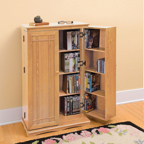 Solid Oak Media Storage Cabinet
