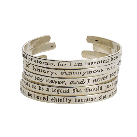 Sterling Silver Famous Quotes by Famous Women Cuff Bracelets