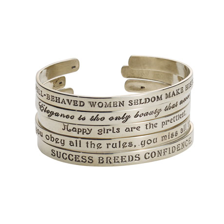 Bracelet Quotes Sterling Silver Famous Quotes by Famous Women Cuff Bracelets | 3  Bracelet Quotes