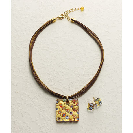 Murano Glass and Gold Foil Necklace