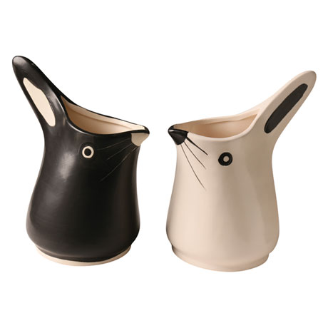Black and White Bunny Pitchers