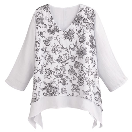 Printed Layered Linen Tunic