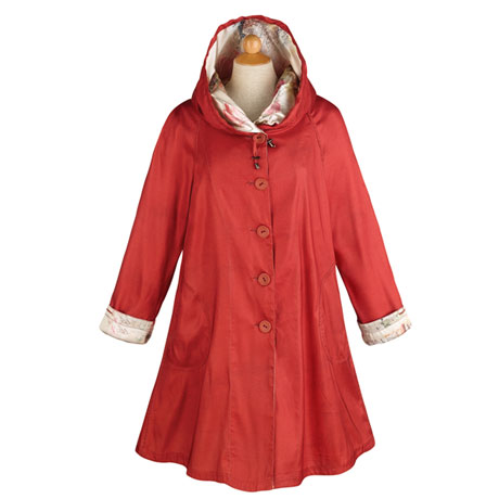 Women's Red Reversible Lightweight & Packable Raincoat With Hood