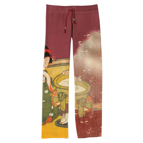 Asian Print Lounge Pants - Red with Dragonflies