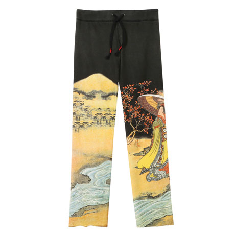 Asian Print Lounge Pants - Black with Tree