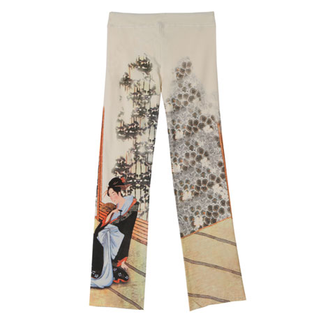 Asian Print Lounge Pants - Cream with Geisha