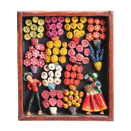 Handcrafted Flower Market Retablo Frame
