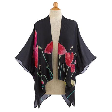 Midnight Poppies Kimono Jacket