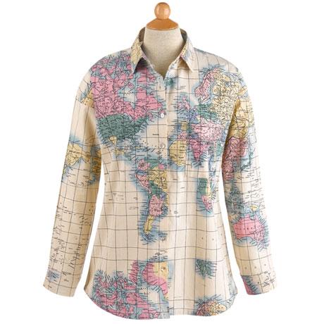 Women's World Map Button-Up Shirt