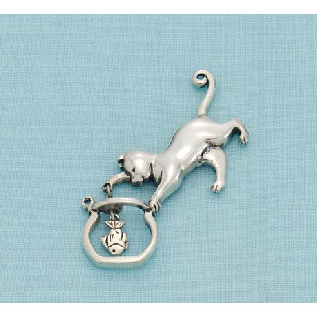 Cat and Fishbowl Pin