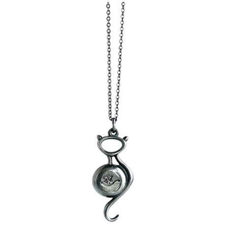 Cat on the Moon Moonglow Pendant - Half Moon