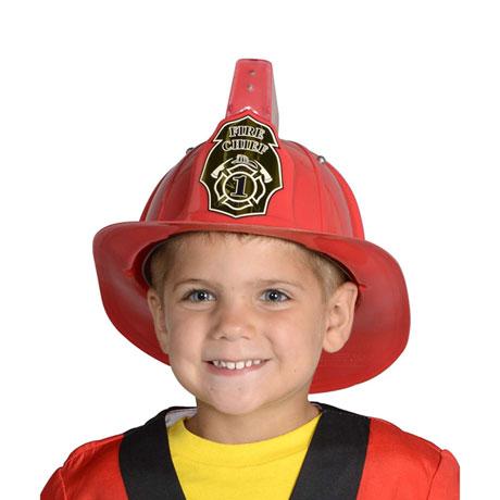 Jr Firefighter Helmet, Red with Siren & Light