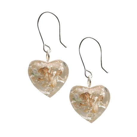 Sterling Silver Leaf Heart Earrings