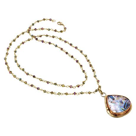 Abalone Teardrop on a Crystal Chain