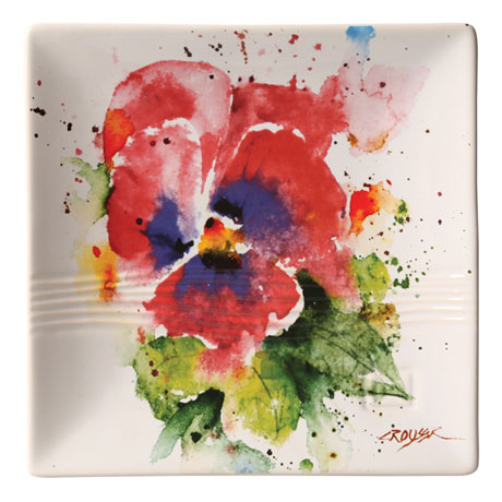 Watercolor Flower Snack Plates
