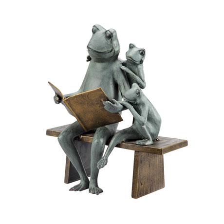 Reading Frog Family Garden Sculpture