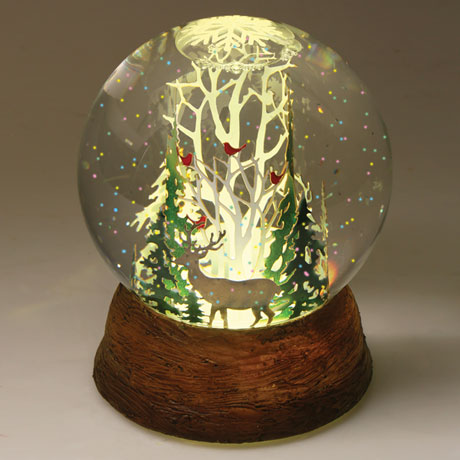 Winter Forest LED Snow Globe