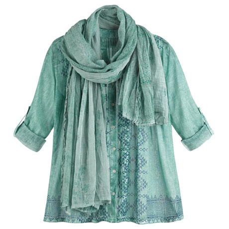 Green Meadow Shirt and Scarf Set