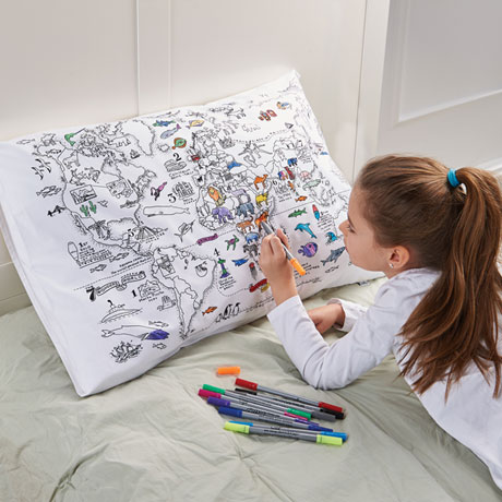 Doodle World Map Pillow Case
