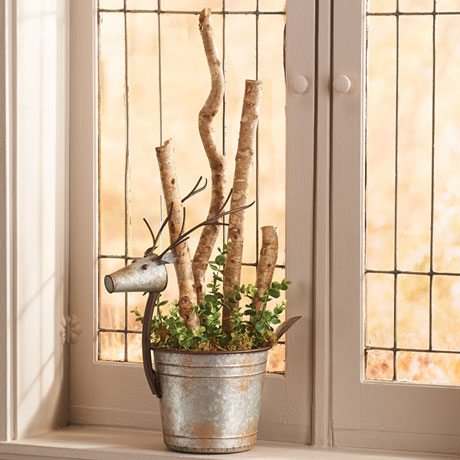 Galvanized Metal Deer Planter