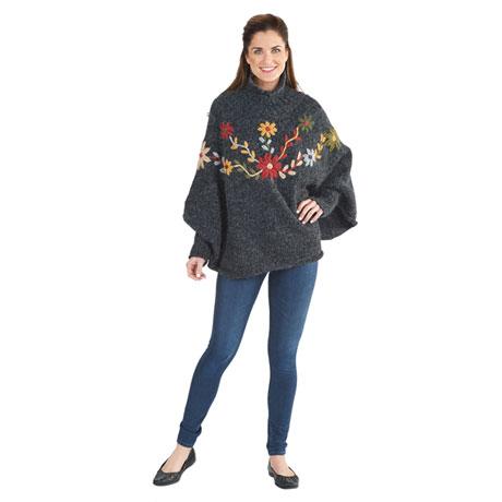 Alpine Flowers Sweater Poncho