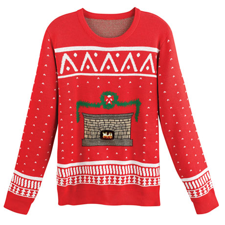 Crackling Fireplace Christmas Sweater