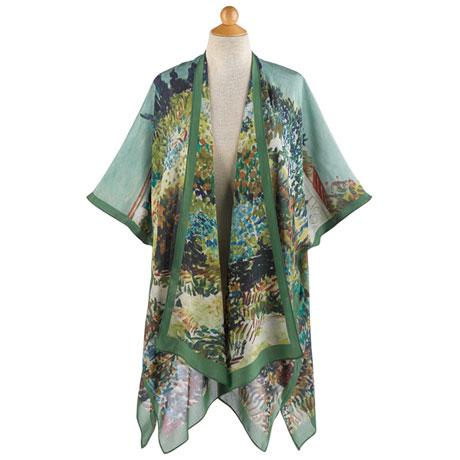 Impressionist Garden Silk Kimono Jacket