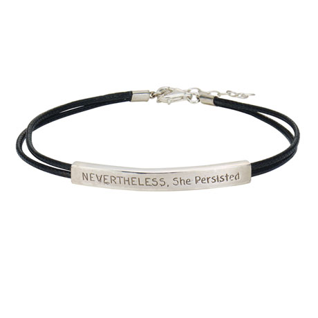 Nevertheless, She Persisted Bracelet - Inspirational Sterling Silver Jewelry