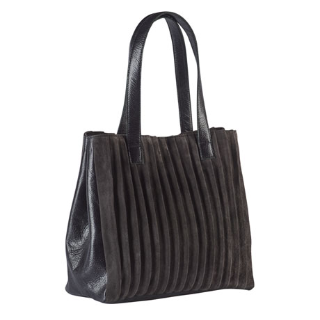 Pleated Suede and Leather Handbag