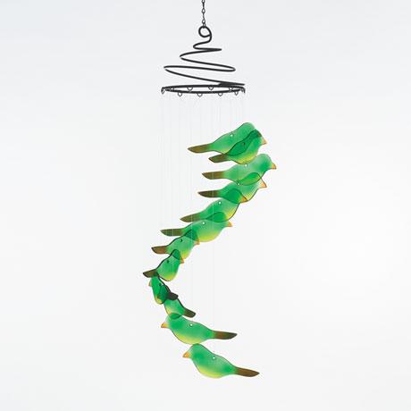 Glass Birds Spiral Wind Chime