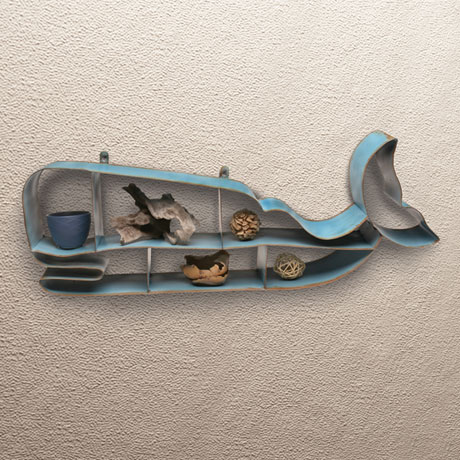 Painted Metal Whale Shelf