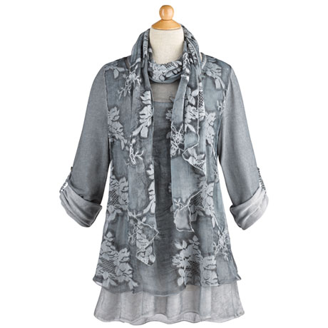 Night Gardens Tunic and Scarf