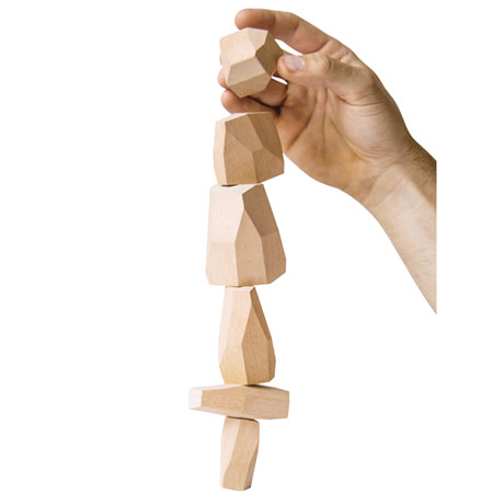 Topple Rocks Wooden Stacking Game