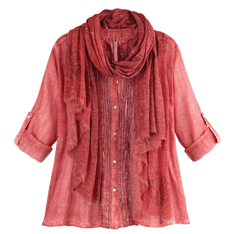 Desert Rose Shirt and Scarf
