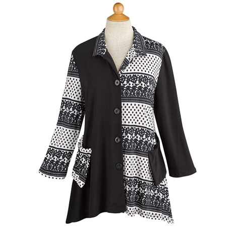 Black & White Button-Up Travel Tunic Top/Jacket with Pockets