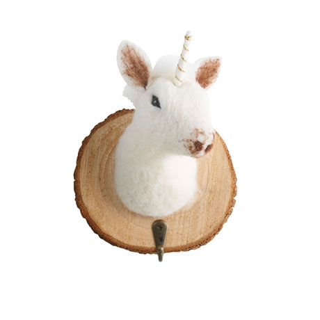 Felted Animal Head Wall Hooks (set of 4)