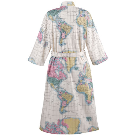 World Map Cotton Kimono Robe with Pockets & Belt