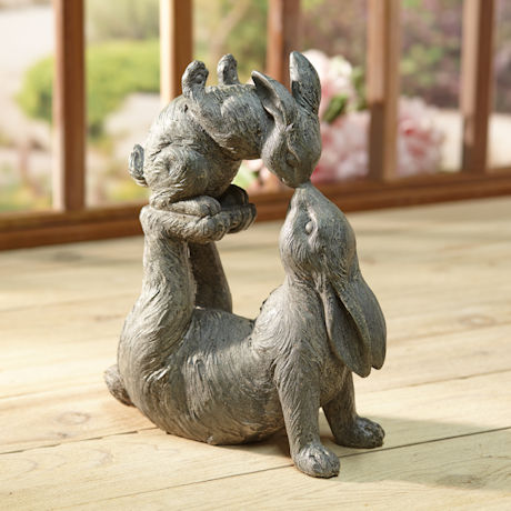 Kissing Rabbits Garden Sculpture