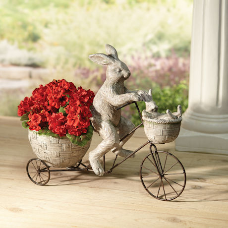 Cycling Rabbits Garden Sculpture