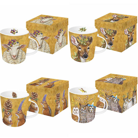 Woodsy & Wise Mugs Set of 4